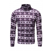 Lovely Casual Turtleneck Printed Purple T-shirt