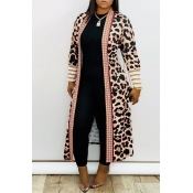 Lovely Casual Leopard Printed Long Coat