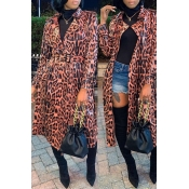 Lovely Casual Leopard Printed Trench Coat