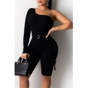 Lovely Trendy One Shoulder Black One-piece Romper
