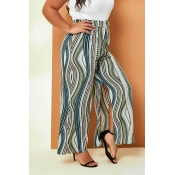 Lovely Casual Printed Loose Green Plus Size Pants