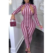 Lovely Casual Striped Hollow-out Red One-piece Jum