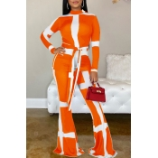 Lovely Casual Patchwork Croci Two-piece Pants Set