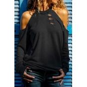 Lovely Casual O Neck Dew Shoulder Black T-shirt