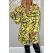 Lovely Casual V Neck Printed Yellow Mini Dress