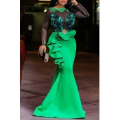 Lovely Party Patchwork Flounce Green Floor Length Prom Dress