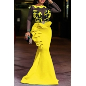 Lovely Party Patchwork Flounce Yellow Floor Length