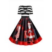 Lovely Sweet V Neck Striped Printed Black Mid Calf
