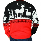 Lovely Casual Christmas Deer Red Sweater