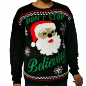 Lovely Casual Santa Claus Printed Black Sweater
