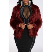 Lovely Casual Basic Faux Fur Wine Red Coat