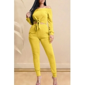 Lovely Casual Knot Design Yellow Two-piece Pants S