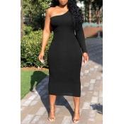 Lovely Trendy One Shoulder Black Mid Calf Dress