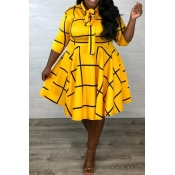 Lovely Casual Knot Design Yellow Knee Length Plus