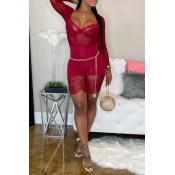 Lovely Sexy See-through Patchwork Red One-piece Romper