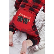 Lovely Family Plaid Printed Red And Black Baby One