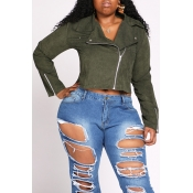 Lovely Casual Zipper Design Army Green Plus Size J