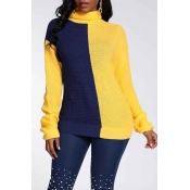 Lovely Trendy Turtleneck Patchwork Yellow Sweater
