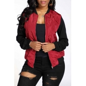 Lovely Casual Patchwork Wine Red Jacket