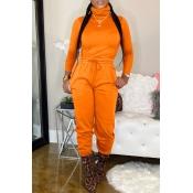 Lovely Casual Turtleneck Basic Orange Two-piece Pants Set