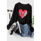 Lovely Casual O Neck Print Black Plus Size T-shirt