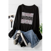 Lovely Casual O Neck Printed Black Plus Size T-shi