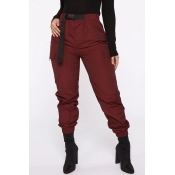 Lovely Casual Pockets Wine Red Pants