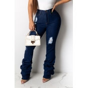 Lovely Casual Ruffle Design Blue Jeans