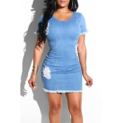 Lovely Leisure O Neck Raw Edge Blue Mini Dress