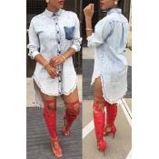 Lovely Trendy Asymmetrical Blue Knee Length Dress