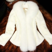 Lovely Casual Patchwork White Coat