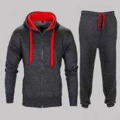 Lovely Casual Hooded Collar Dark Grey Two-piece Pa
