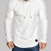 Lovely Casual Hooded Collar Ruffle Design White Hoodie