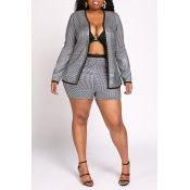 Lovely Trendy Patchwork Silver Two-piece Shorts Se