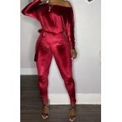 Lovely Casual Dew Shoulder Wine Red One-piece Jump