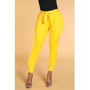 Lovely Casual Skinny Yellow Pants