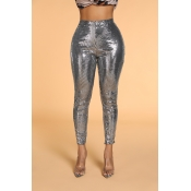 Lovely Casual Skinny Silver Pants