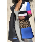 Lovely Leisure Patchwork Blue Trench Coat
