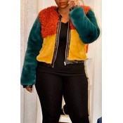 Lovely Trendy Patchwork Multicolor Coat