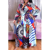 Lovely Casual Print Blue Plus Size Maxi Dress