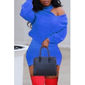 Lovely Leisure Turtleneck Dew Shoulder Royal Blue
