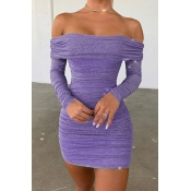 Lovely Casual Ruffle Design Purple Mini Dress