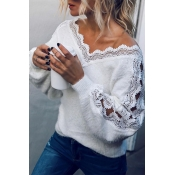 Lovely Sweet V Neck White Sweater