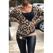 Lovely Casual V Neck Leopard Brown Sweater