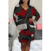 Lovely Casual Camo Print Red  Mini Dress