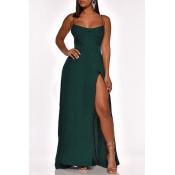 Lovely Party Side High Slit Green Evening Dress