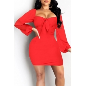 Lovely Sweet Knot Design Red Mini Dress