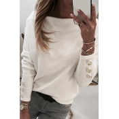 Lovely Casual Buttons Design White Blouse