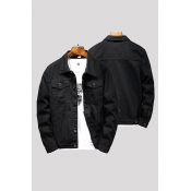 Lovely Casual Buttons Black Cowboy Wear