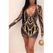 Lovely Party V Neck Hollow-out Gold Mini Dress